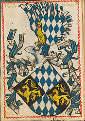 Coat of arms of the Duke of Bavaria – Scheibler's book of coats of arms | © BSB/ Cod.icon. 312 c