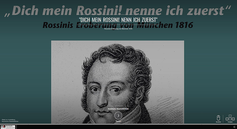 Welcome page of the virtual exhibition – Gioachino Rossini, 1819. Steel engraving on the basis of a drawing by Louis Dupré (after 1820) | © Collection Reto Müller