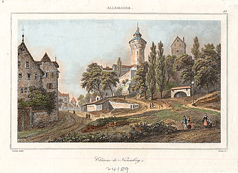 Nuremberg – castle, coloured steel engraving, 1838 (Mapp.XI,490 h) | © BSB/ Image archive