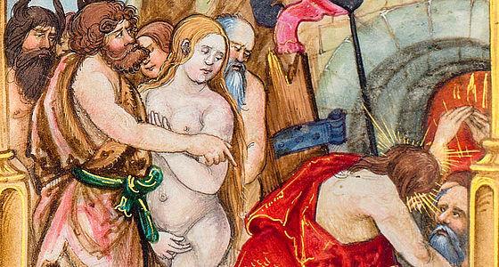 Passionstraktat, Nürnberg 1521 – Blatt 189r (Ausschnitt): Abstieg Christi in die Unterwelt – Buchmalerei: Nikolaus Glockendon | © BSB/Cgm 9600