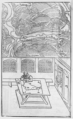 Surveyor at the measuring table and bird's eye view of the landscape. Xylograph of Paul Pfinzing, around 1598 | © BSB/ Image Archive