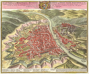 Bird's eye view of the city of Würzburg in a coloured copper engraving by Johann Baptist Homann, 1723 | © BSB/ 2 Mapp. 8-4,1#59