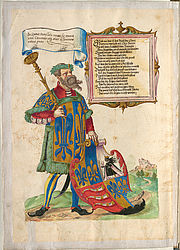 Herald of arms – Book of honour of the Fugger family | © BSB/ Cgm 9460