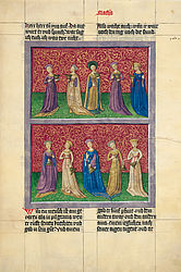 The wise and the foolish virgins – Ottheinrich Bible | © BSB/ Cgm 8010(1