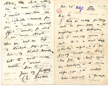 Brief von Charles Darwin vom 26. November 1867 | © BSB/Ana 525, Ba 695