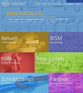 RISM catalogue, new start page | © RISM/ BSB