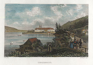 The Benedictine abbey of Tegernsee, seen here on a coloured steel engraving by Henry Winkles, around 1840 | © BSB/ Image archive