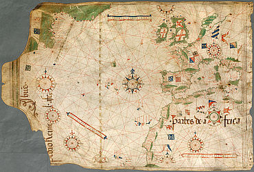 Pedro Reinel: Portolan chart (Atlantic ocean). Portugal, around 1504 | © BSB/ Cod.icon. 132