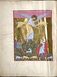 Annunciation to the shepherds – Evangeliary of Emperor Henry II | © BSB/ Clm 4452