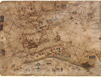 The oldest portolan chart (crafted in 1476 in Liguria) is from the Genoese cartographer Battista Beccario | © BSB/ Cod.icon. 130 (detail)