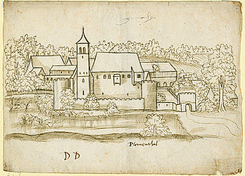 Topographies: Sketch of castle Blumenthal (district Aichach-Friedberg) by Philipp Apian | © BSB/ Cgm 5379(3