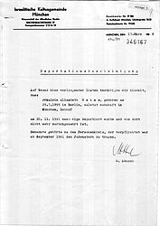 Deportation order of Elisabeth Heims | © State Archive Munich, local court Munich file no. 1935/2948