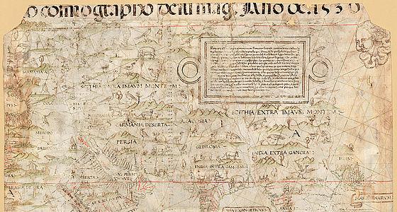 Diogo Ribeiro: Weltkarte (sog. Welserkarte). Handzeichnung auf Pergament. Sevilla, 1530 | © BSB – Dillingen, Studienbibliothek, Mapp. 1