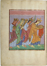 Representatives of the provinces bringing gifts – Gospel book of Otto III | © BSB/ Clm 4453