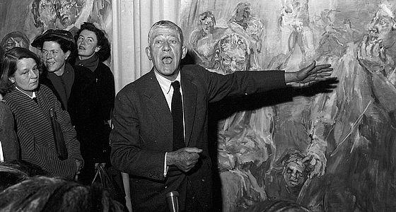 Oskar Kokoschka bei der Eröffnung seiner Ausstellung im Haus der Kunst. Georg Fruhstorfer, März 1958 | © BSB/Bildarchiv (fruh-00812)