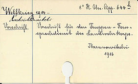 Handwritten catalogue card of the war-themed collection | © BSB