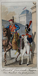 Mamluk on horseback, coloured copper engraving, 1816 | © BSB/ Image archive