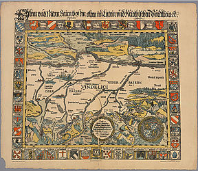 Bavarian historiographers: In 1523 and 1535 Johannes Aventinus published a printed map of the country to complement his chronicle of Bavaria, the first map of Bavaria which was not drawn by hand | © BSB
