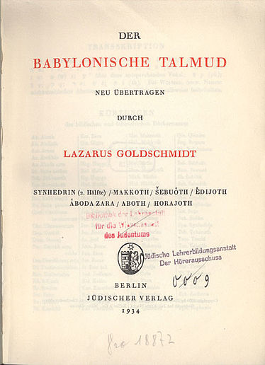 Title page of the Talmud translation by Lazarus Goldschmidt | © BSB