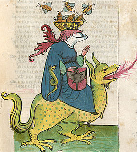 Etymachia (struggle of virtues and sins): The personification of envy riding on a dragon. Electoral Palatinate, around 1430 (Worlds of images, part 2 – Ethereal and worldly) | © BSB/ Cgm 3003