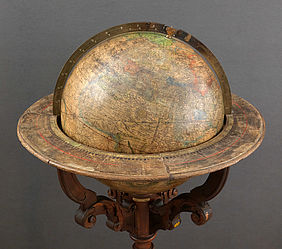 Terrestrial globe by Gerhard Mercator. Copper engraving on cardboard with gypsum chalk ground. Leuven, 1541 | © BSB – Amberg Provincial Library, EG-Mercator