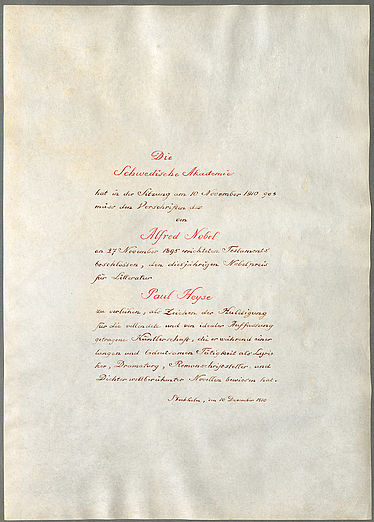Personal papers of Paul Heyse (1830 – 1914): Deed of the award of the Nobel prize for literature. Stockholm, 10 December 1910 | © BSB/ Heyse archive V.105