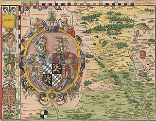 "The fifth one of a total of 24 ""Bairische Landtafeln"" by Philipp Apian, published in print in 1568 