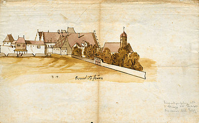 View of Benediktbeuern, hand drawing by Philipp Apian | © BSB