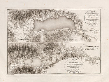 Adrian von Riedl: Strom-Atlas von Baiern (atlas of rivers in Bavaria). Munich, 1806 – 1808 (map of the Tegernsee, map of the Schliersee) | © BSB