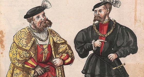 Kolorierte Darstellungen von 193 Männern des bayrischen Fürstenhauses von Bavarus bis Albrecht 1546, mit historischen Reimsprüchen (Papierhandschrift) | © BSB/Cgm 2799