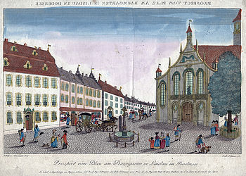 Market square in Lindau, coloured copper engraving, around 1790 | © BSB/ Image archive