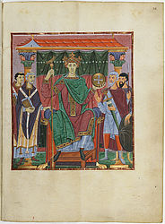 Sovereign image of Emperor Otto III with nobility and clergy – Gospel book of Otto III | © BSB/ Clm 4453
