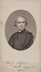 "Franz Liszt as a clergyman, clad in the soutane. Photograph, signed by his own hand, dated ""Pesth, August 1865"" 