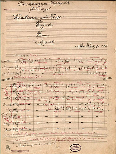 Max Reger: Variations and fugue for orchestra on a theme by Mozart. Score. 20 July 1914 | © BSB/ Mus.ms. 6577