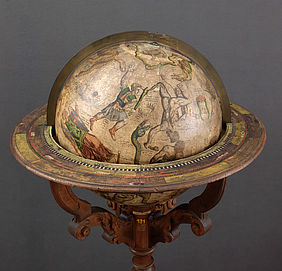 Celestial globe by Gerhard Mercator. Copper engraving on cardboard with gypsum chalk ground. Leuven, 1551 | © BSB – Amberg Provincial Library, HG-Mercator