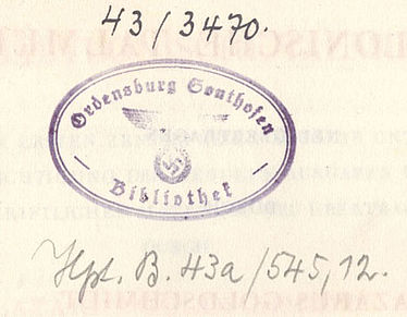 "Ownership stamp of the ""NS Ordensburg Sonthofen"" in the Talmud translation by Lazarus Goldschmidt 