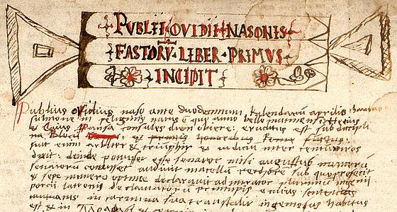Humanistenhandschrift aus Freising, um 1500/1515. Publius Ovidius Naso, Fastorum libri I – IV mit erläuternden Scholien | © BSB/Clm 6716