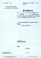 Certificate of inheritance of Elisabeth Heims | © State Archive Munich, local court Munich file no. 1935/2948