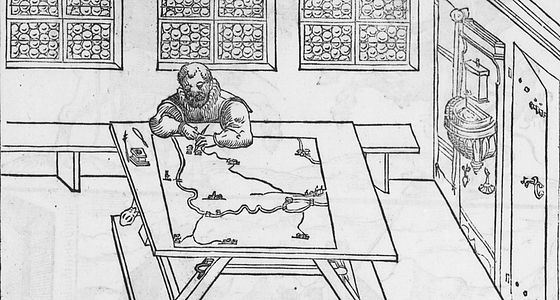 Vermesser am Messtisch. Holzschnitt um 1598 von Paul Pfinzing | © BSB/Bildarchiv
