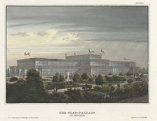 Glass Palace in Munich, steel engraving, 1857 | © BSB/ Image archive