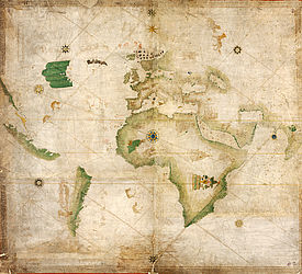 Portolan chart (hand-drawn nautical map, world map). Italy?, 1502 – 1506 | © BSB/ Cod.icon. 133