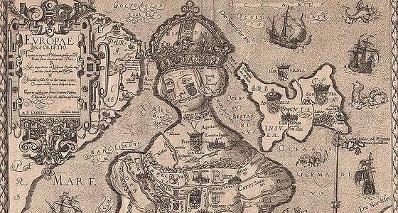 Europa Regina. Europakarte in Frauengestalt nach einem Entwurf von Johannes Putsch. Kupferstich auf Papier. Köln, 1587 | © BSB – Regensburg, Staatliche Bibliothek, Gr/2Hist.pol.5,52a