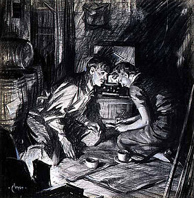 Resistance: Man and woman in cellar listening to radio, by war artist Terence Cuneo | © The National Archives, INF 3/1787