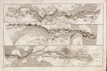 Adrian von Riedl: Strom-Atlas von Baiern. Munich, 1806 – 1808 (river Isar from Tölz to Munich) | © BSB