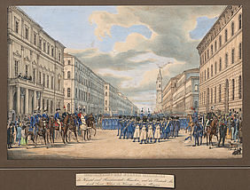 Inspection of the citizens' militia by Duke Max in Bavaria in the Ludwigstrasse, coloured lithography by Gustav Kraus of 1852 | © BSB/ Image Archive