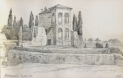 Paul Heyse: Palatin, 3 February 1878. From: [sketch book] Rome 1878 – Lindau 1877 | © BSB/ Heyse Archive I, 35