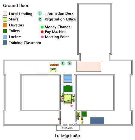 Site map information desk, registration office, local lending (ground floor) | © BSB