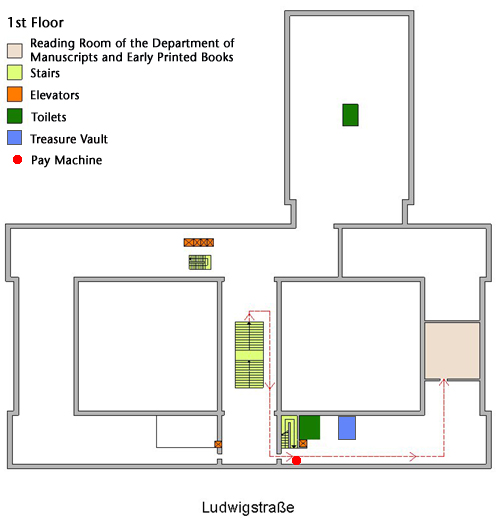 Site map Reading Room for Manuscripts and Rare Books (1st floor) | © BSB