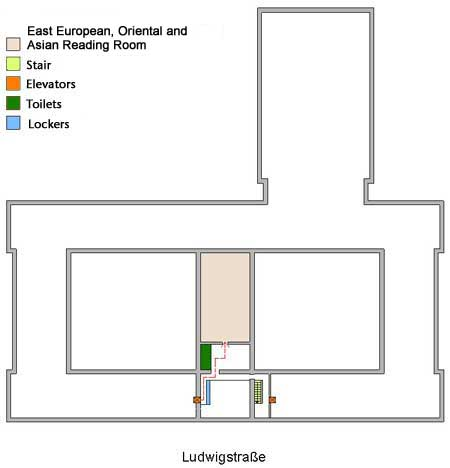 Site map East European, Oriental and Asian Reading Room (3rd floor) | © BSB