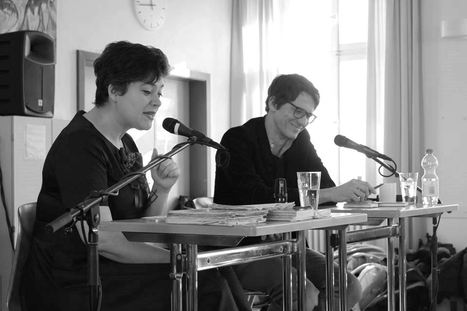 "Nora Gomringer, Fridolin Schley at the series of readings in schools ""So fremd wie wir Menschen"" (""As foreign as us humans"") in Bamberg 